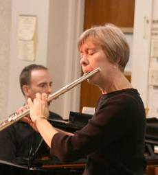 Beth Pflueger was one of three musicians playing Sonata in b minor composed by Georg Philipp Telemann at the
