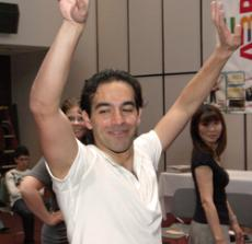 Ari Libaridian, a choreographer/dancer with Hamazkayin Nairi Dance Group, teaches folkloric dance during the ABRINK festival, a celebration of Armenian literature and culture, at the Glendale public library.