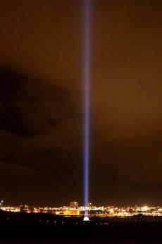 The Imagine Peace Tower in Iceland is the eventual home of all tags collected from the Wish Trees installations.