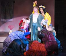 Princess Winnifred played by Jessica Young and Lady Mabelle played by Iris T. Hill in the musical number