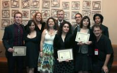 The Glendale team with a few of their 15 awards. So Cal President-elect Brandon Hensley, left; Claudia Anaya; Insider editor-in-chief, Jane Pojawa; Anita K. Marto; faculty advisor, Michael Moreau; El Vaquero editor-in-chief, Jessica Bourse; Troy Cornell;