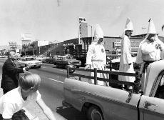 The California Knights of the Ku Klux Klan, under the direction of La Crescenta resident William V. Fowler, organized a demonstration in Panorama City, Calif. on Sept. 15, 1966. Photographer Ralph Samuels noted that the klansmen were riding in a Dodge tru