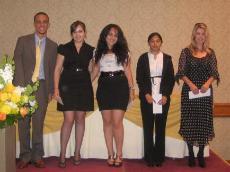 Academic Honor Scholar Award Winners: Edwin Lopez, from left, Tigranuhi Stepanyan, Hermine Gevondyan, Deveron Shudic and Damaris Herrate.