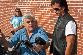 LOVE RIDE: Jay Leno and Lorenzo Lamas check out a two-wheeled rocket at last Sunday's Harley-Davidson Love Ride. Founded in 1984, the annual event is designed to raise money for children's charities. This year more than a thousand riders are expected to r