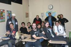 The GCCTV studios  were converted into a high school classroom by Weber and his crew for the filming of  High School Confinement, Front row: Justin Priceless, Nicholas Weber, Jennie Marie Pacelli. Middle row: instructor Michael Pitts, Alan LeGrady, Elen