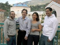 MASTER SCHOLARS: Professor Sid Kolpas, second from left, stands with Karo Karagezyan, far left, Karina Estrada and Danny Diaz, some of the students who are being mentored through the MASTER program.
