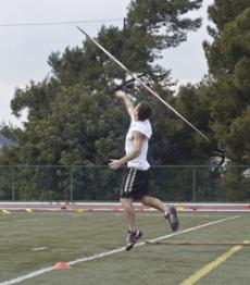 STICK IT: Javelin thrower Phillip Garrubba practices for the next meet.