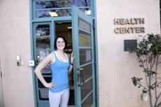 Lauren Campell enters the health center prior to  a nutritional assesment.