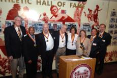 ONCE A VAQ, ALWAYS A VAQ:  Hall of Fame inductees, from left, John Block, Chris Hale, Roy Nichols, Mike Cram, Angela Brinton Collins,  Judy Thomsen, Jimmy Evangelatos and Steve La Rusch.