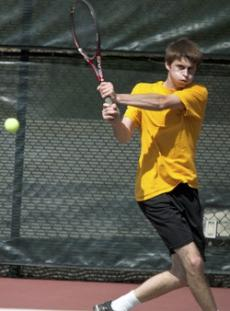HIT OR MISS: Glendale's Trevor Campbell  finished (6-1, 6-2) in singles against Santa Barbara last Tuesday.