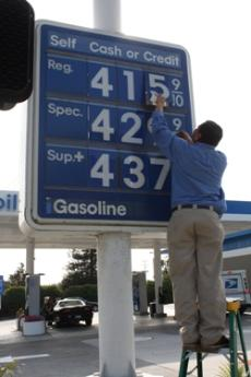 GOING UP: With the price of gas rising steadily, students are cutting back on travel, entertainment and even basic transportation.