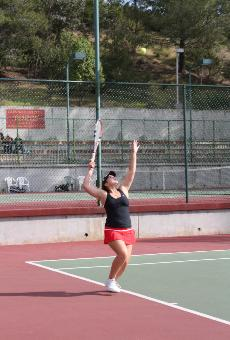 POWER PLAYER: Sindi Consebida plays tennis like a king: Billie Jean King. She plays the power game.  Her serve travels at 75 plus miles per hour and some of her opponments cannot handle it.  Consebida hits in the number three spot this season after moving