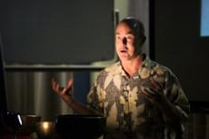 NIRVANIC TOOLBOX: English professor Chris Juzwiak uses meditation tools to enhance intellectual humanity.