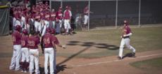 GO TEAM!: Sako Chapjian grins ear-to-ear as Vaqs applaud his spectacular grand slam home run 330 feet over the left-field fence. The four long-awaited runs sealed the win and capped off the regular season giving GCC the Southern division baseball title fo