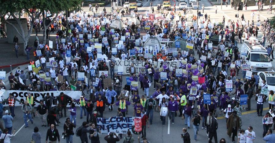 More than 1,000 protesters took to the streets in downtown LA last Thursday, culminating in sitdown at 4th and Figeroa.
