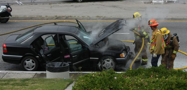 Glendale Fire Department Extinguished Flaming Car in Front of GCC