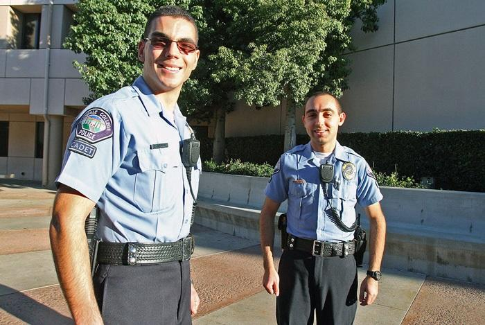 UNDER ARREST: GCC cadets Artsroun Darbinian (left) and Hovig Tchagaspanian patrolling and keeping the campus safe.