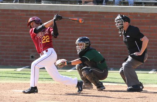 Vaquero Brent Sakurai takes a swing against LA Valley College on March 13 at Stengal Field.