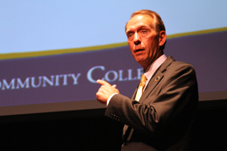 UPDATES AND FUTURE PROJECTIONS: Chancellor Brice Harris visited GCC March 9 sharing valuable information for community college students.