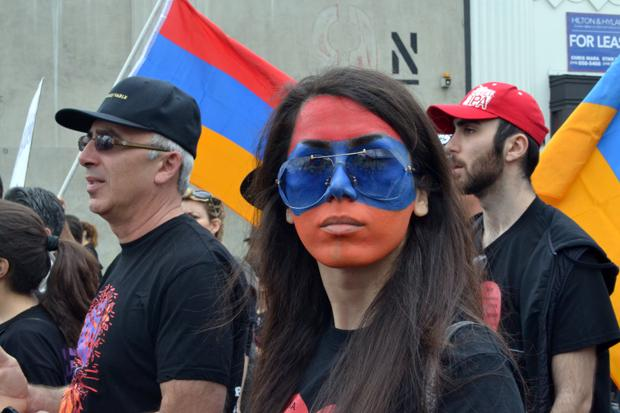 Alma Megerdichian wears the colors of the Armenian flag during the March for Justice