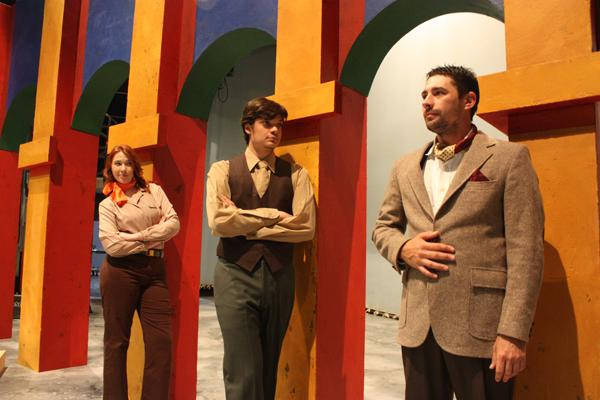"SHAKESPEARE PRODUCTION: Cast members Angela Thompson, Jared Ogassian and Michael Ashby star in ""Much Ado About Nothing."""