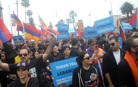 Officials estimate 100,000 Armenians and supporters marched to the Turkish Consulate in Los Angeles on April 24, the 100th anniversary of the genocide.