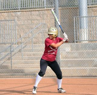 A SWING AND A HIT: Team captain and offensive player of the year Rebecca Hernandez is up at bat for the Lady  Vaqueros.