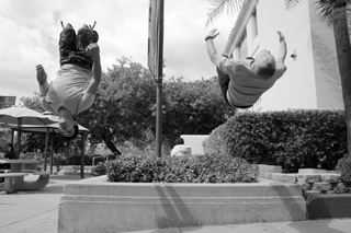 Varag Hakopian and Jonathan Erdos, co-founders of the campus parkour club, get airbourne promoting this fast-growing new sport.