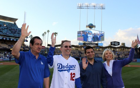 WAVE TO THE CAMERA: At Glendale Dodger night, City Council Member Vartan Gharapetian, Vice President of sponsor Lexus of Glendale Johnny Harrison, Chairman of the Dodger Night Committee Shant Sahakian and Vice President and Founder of Glendale Parks and Recreation Dottie Sharkey wave to the camera.