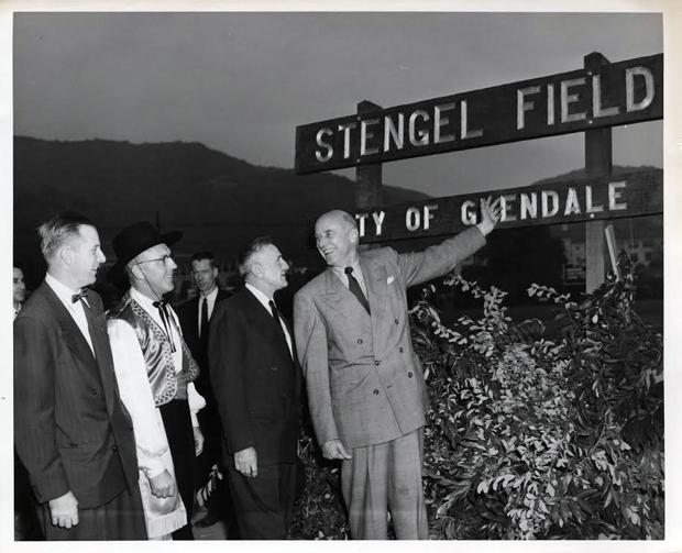 Casey Stengel at the field dedicated in 1955