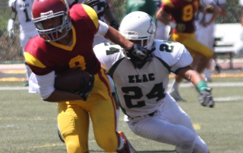 ONE AND ONLY: Travis Custis (No. 8) breaks away from East LA College defender in a game last year. East LA College is the only team the Vaqueros have beaten this season.