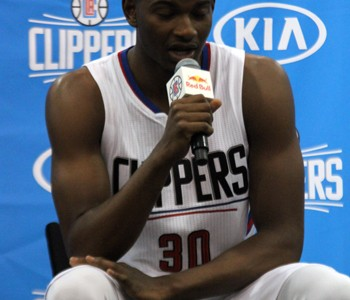 SMILING FOR THE CAMERA: Guard CJ Wilcox talks to reporters on the Clippers Media Day.