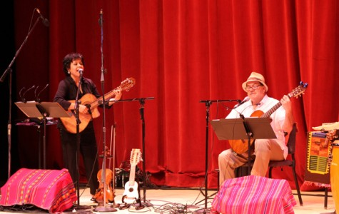 SAMBA TIME: Julissa Bozman and João Junqueira perform music from Latin America in a concert in the Auditorium on Saturday. The show was part of a continuing series throughout the year.