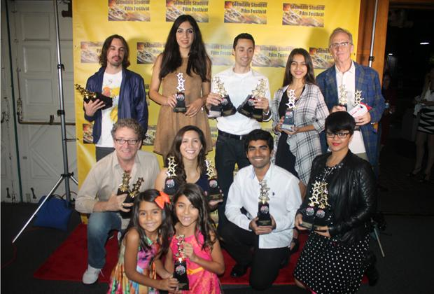 AWARD+WINNERS%3A+The+winners+at+the+2nd+Annual+Glendale+Student+Film+Festival+gather+on+the+red+carpet+with+their+trophies.