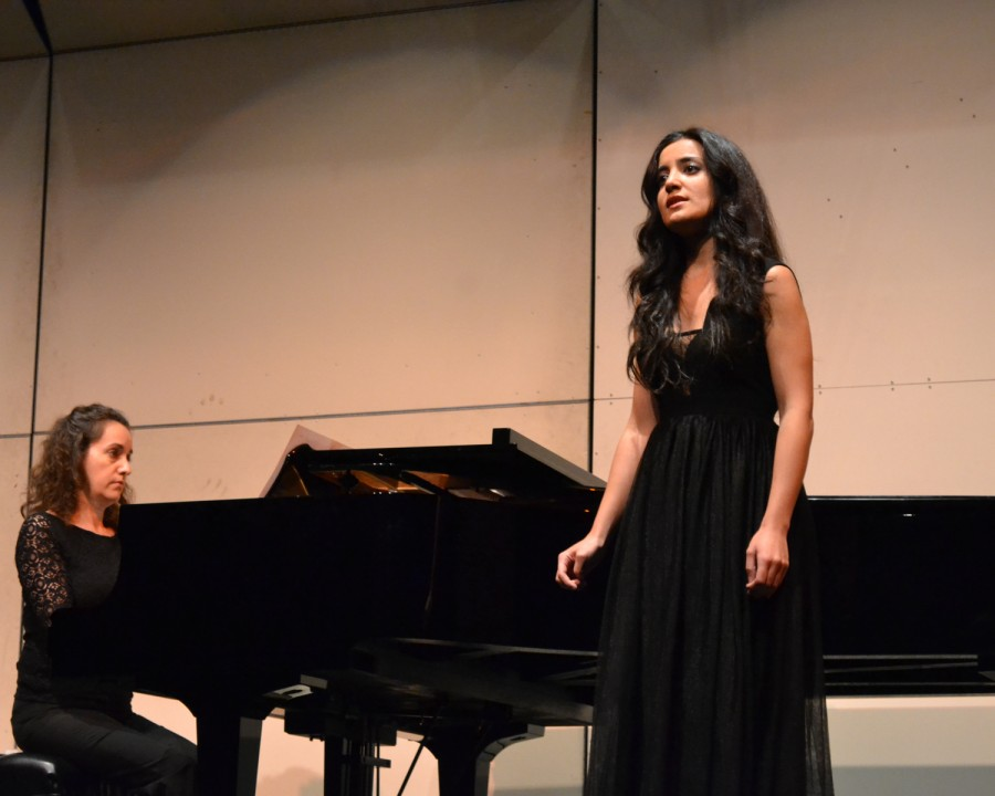 Mariam Tonakanyan show off her vocal skills accompanied by pianist Linda Zoolalian at the Applied Music Recital in the auditorium on Nov. 20.
