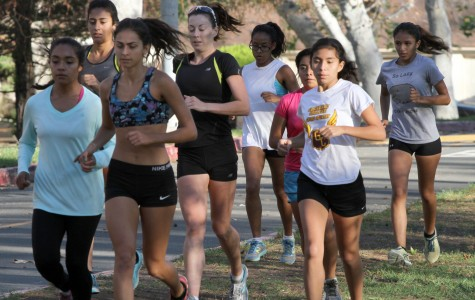 LEADING THE PACK: Women's Cross Country team captain Crystal Morales, front left, keeps up with Leana Setian while training with the team at Verdugo Park before the state championships where the Lady Vaqs took their 11th straight title. Setian is ranked #1 in Southern California.