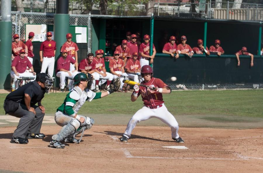 INFIELDER: Chris Colarossi chokes up for a bunt to move a teammate to second base in a one-sided game against East Los Angeles College at Stengel Field on March 1. The Vaqueros lost 4-1.