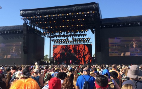 COA-CHILLIN: Thousands of fans flock the main stage as Gary Clark Jr. performs at the Coachella Valley Music and Arts Festival in Indio. The festival runs the last  two weekends of April and draws sold out crowds, with record breaking sales each year.