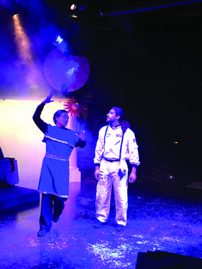 "THE MYSTERIES OF LIFE: Ash the astronaut played by Dion Aghajani finds himself in a deep philosophical debate with Plato played by Justin Tay Yi Xiong in ""We Are Stardust"" at the Auditorium through Saturday."