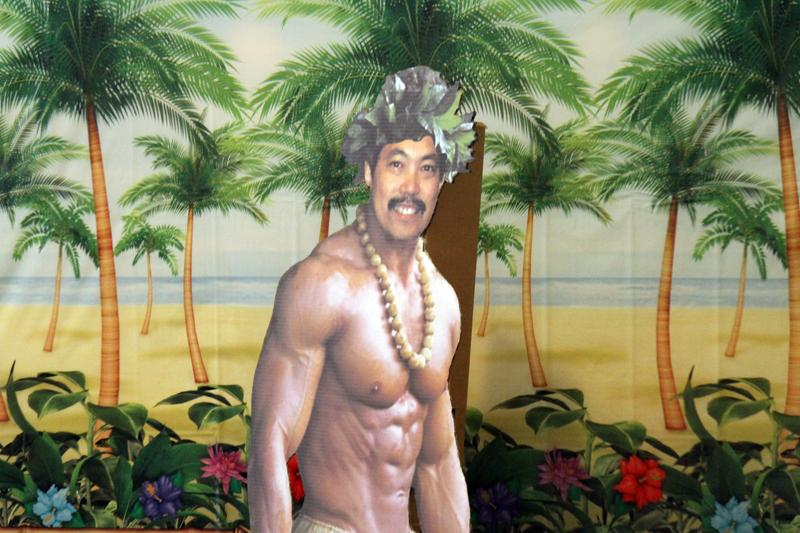 Hawaiian cut-out at Ron Nakasone's retirement party at the Student Center on Aug. 2.