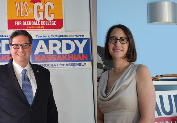 STATE ASSEMBLY: Democratic candidates and opponents, Ardy Kassakhian and Laura Friedman pose in their respective campaign headquarters while gearing up for the Nov. 8 election.