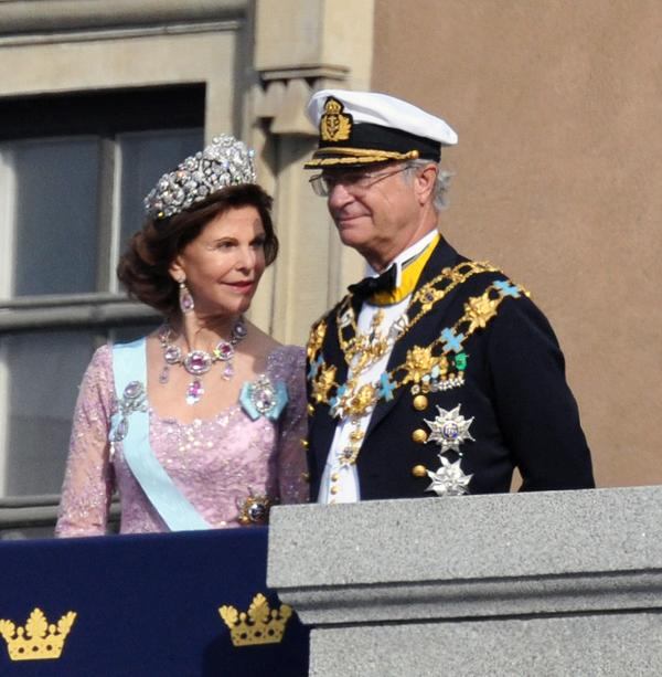 ROYALTY: King Carl XVI Gustaf  with Queen Silvia at the royal wedding of Princess Victoria of Sweden.