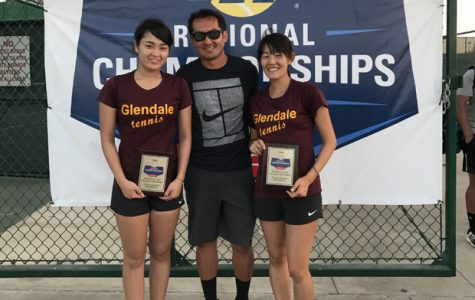 Representing GCC in the International Tennis Association (ITA) Oracle Cup are Kanako Kihara, Coach Deo Sy and Tuskimi Ono.