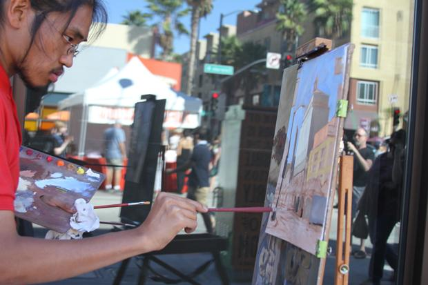 LOCAL+ARTIST%3A+James+Wu+paints+a+street+scene+at+the+11th+Annual+Pasadena+Artwalk+on+Saturday.+