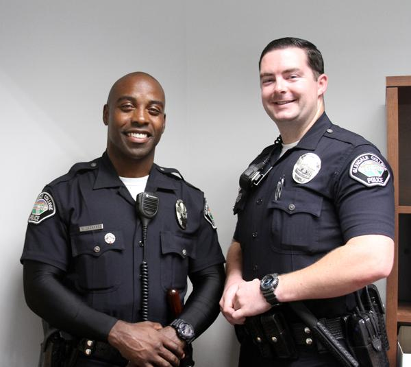 TO PROTECT AND TO SERVE: Brandon Mackabee and Nicholas Allen are the newest members of the campus police department.