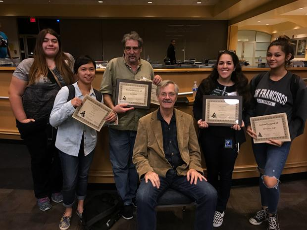 WINNING TEAM: From left, Elena Jacobson, Diane Roxas, Sal Polcino, El Vaquero advisor Michael Moreau, Melody Shahsavarani and Tess Horowitz show off the numerous awards earned at  JACC.