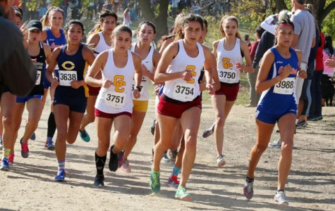 REPEAT: The Lady Vaqs cross country team lead the pack in the state meet at Fresno on Saturday. The team went on to bring home back-to-back  championships, while the men's team won second place.