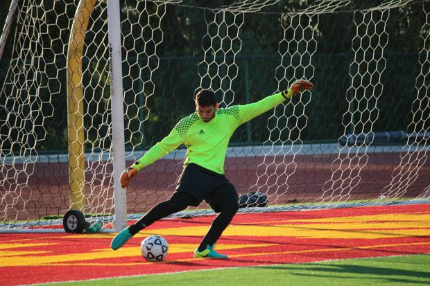 GAME SAVER: Armando Aragonez forms a wall at the goal during a game against Citrus College at Sartoris Field on Nov. 4. The Vaqueros will face #1 Victor Valley on Friday in the last regular season game.