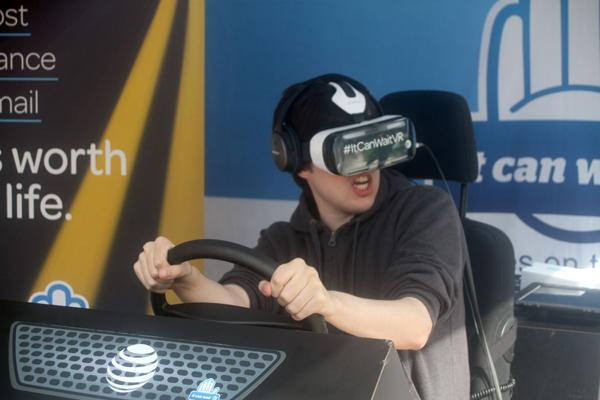 REALITY BITES: Glendale College student Andrew Petersen, yells out in surprise during the virtual reality experience provided by a partnership with AT&T on Nov. 1 in Plaza Vaquero.