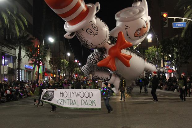 THE CAT IN THE HAT: A giant balloon featuring the enduring character of Dr. Seuss floats down Hollywood Boulevard on Nov. 26.